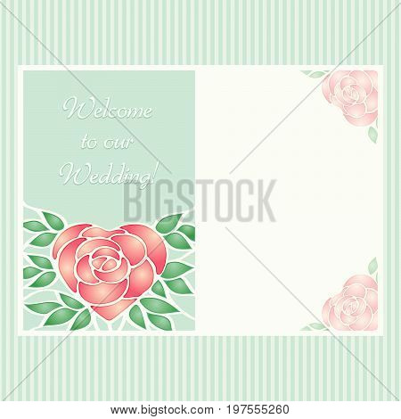 Vector vintage postcard with stainless heart shaped shiny rose flower into leaves. Romantic design invitation for wedding, birthday and valentine day