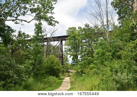 a walking trail that goes under a railroad trestle.