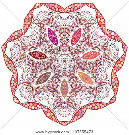 Vector Indian ornament kaleidoscopic floral pattern mandala. Ornamental round lace pattern circle background with many details