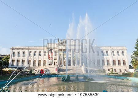 SZEGED HUNGARY - JULY 21 2017: Main building of Mora Ferenc Museum in the end of the afternoon with fountains in front. It's the main museum in Szeged in the fields of archaeology ethnography history and natural science.