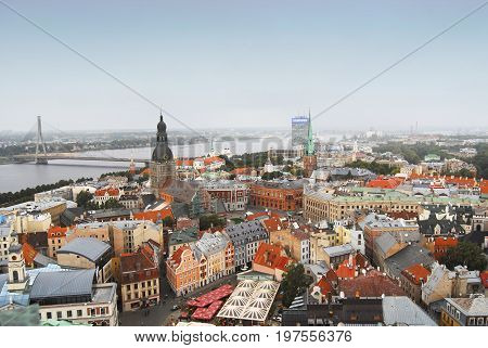 Riga, Latvia - September 15, 2012: View of Riga from St Peter's Church Tower