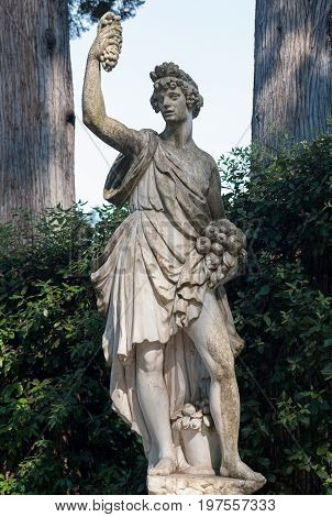 Florence ITALY - July 18 2017: Autunno by Giovanni Caccini (circa 1600) is a statue located in the Boboli Garden along the main avenue.