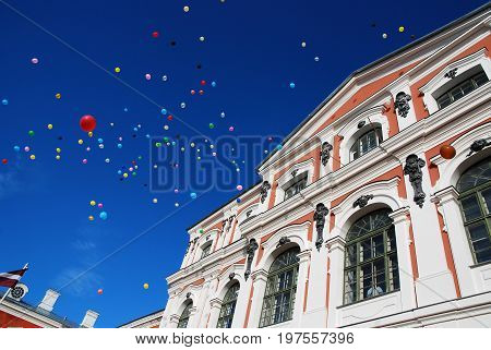 Jelgava, Latvia - September 30, 2011: Latvia University of Agriculture celebration with fireworks