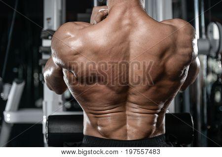 Brutal strong bodybuilder athletic man pumping up muscles workout bodybuilding concept background - muscular bodybuilder handsome men doing exercises in gym naked torso