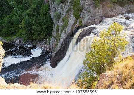 View from the brink of the High Falls of the Baptism river. The 70-foot High Falls are said to be the highest waterfalls completely in Minnesota.