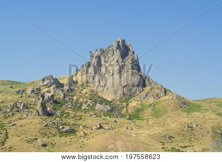 landscape of the area of Azerbaijan. Five fingers mountain