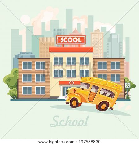 Back to school. School building in flat design.