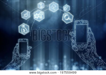 Abstract polygonal hands holding tech smartphones recieving and sending data. Social media online banking future concept. 3D Rendering