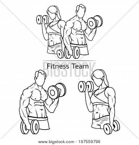 Vector image of set fitness team. Logo of a strong man and a slender woman with a dumbbell. Illustration of a bodybuilder with a partner dressed in sportswear.