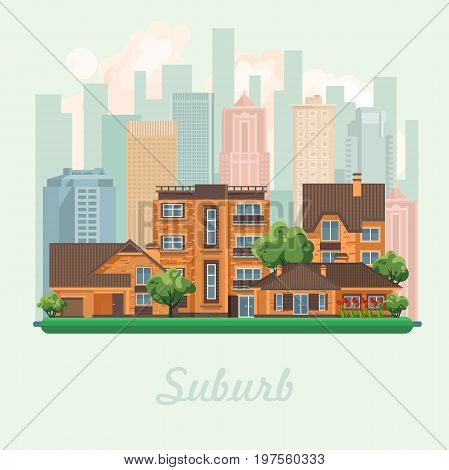 Suburb vector illustration in flat design. Colorful style