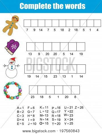 Complete the words using cipher code. Children educational game.Christmas, new year winter holidays theme. learning numbers, vocabulary and alphabet