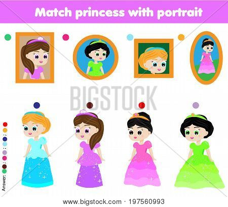 Children educational game. Kids activity. Matching pairs. Find the correct portrait of beautiful princess