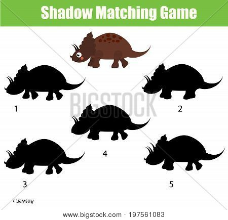 Shadow matching game for children. Find the right, correct shadow task for kids preschool and school age. dinosaur character