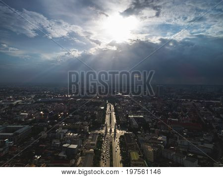 The Democracy Monument at twilight time at Bangkok city, Center of Bangkok, Aerial view of Bangkok.