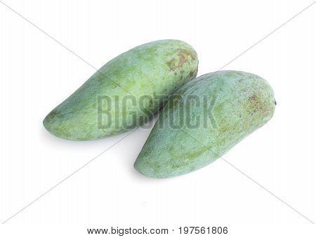 Fresh green mangoes isolated on white background. raw mango