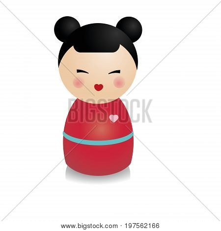 Fashionable kokeshi doll. Traditional japanese figure in realistic style. Vector icon, isolated design element