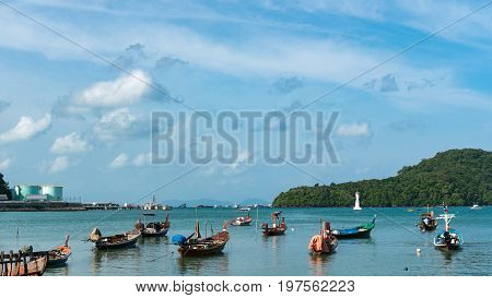 long tail boat in andaman sea at phuket thailand