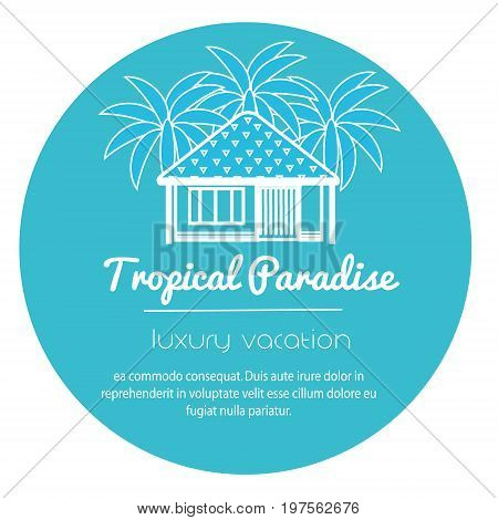 Bungalow with palm trees. Tropical apartment. icon for touristic business, advertisements.