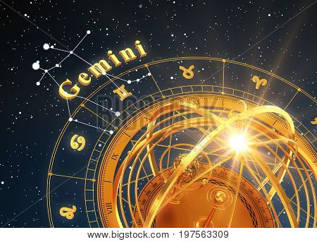 Zodiac Sign Gemini And Armillary Sphere On Blue Background. 3D Illustration.