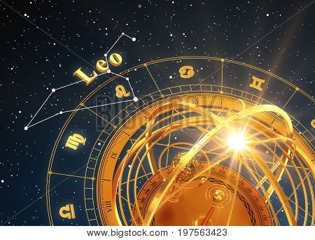 Zodiac Sign Leo And Armillary Sphere On Blue Background. 3D Illustration.