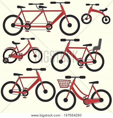 Flat colorful red vector bicycle set including tandem bike with basket and baby seat city cycle icon