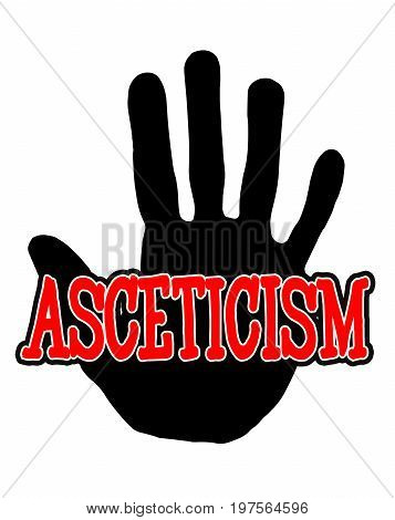 Man handprint isolated on white background showing stop asceticism