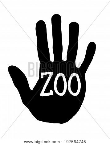 Man handprint isolated on white background showing stop zoo