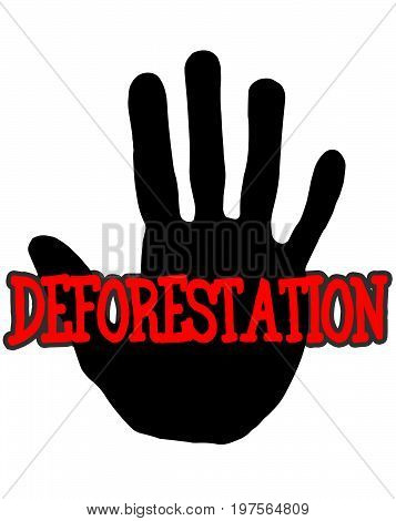 Man handprint isolated on white background showing stop deforestation