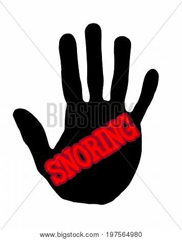 Man handprint isolated on white background showing stop snoring