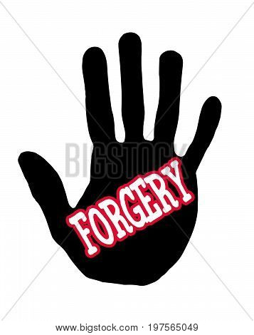 Man handprint isolated on white background showing stop forgery