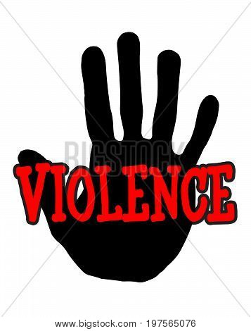 Man handprint isolated on white background showing stop violence