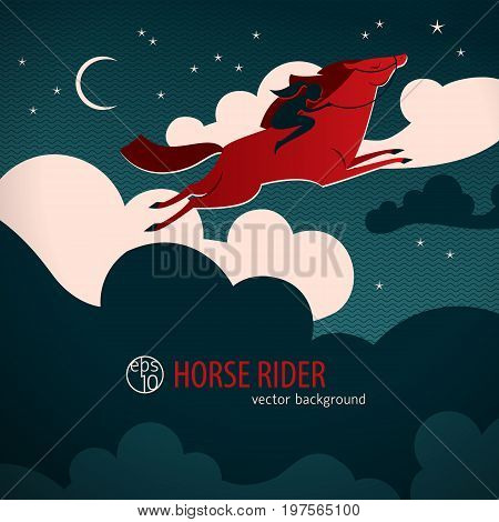 Wild red horse poster with horse cross the night sky with a rider vector illustration