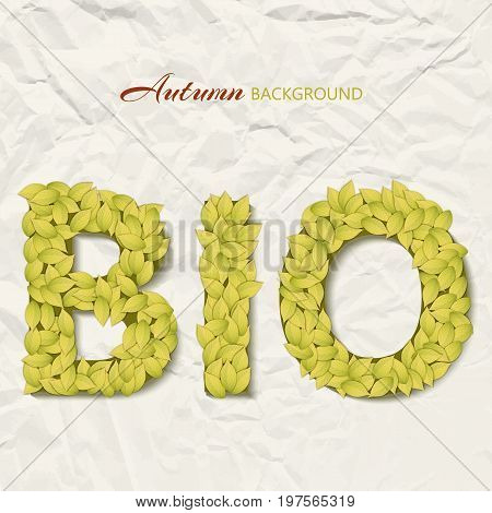 Autumn design concept with bio text made up of yellow leaves on wrinkled paper background vector illustration
