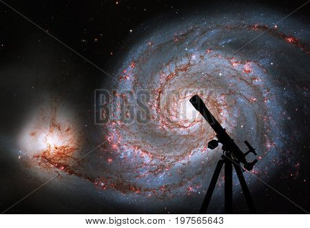 Space Background With Silhouette Of Telescope. Whirlpool Galaxy. Spiral Galaxy M51 Or Ngc 5194.eleme