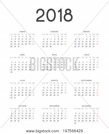 Simple template for printing modern calendar 2018 in Spanish. Week starts from Monday.