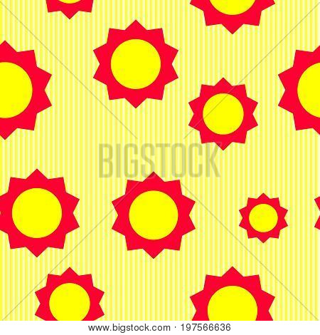 Seamless floral wallpaper with red elements on yellow