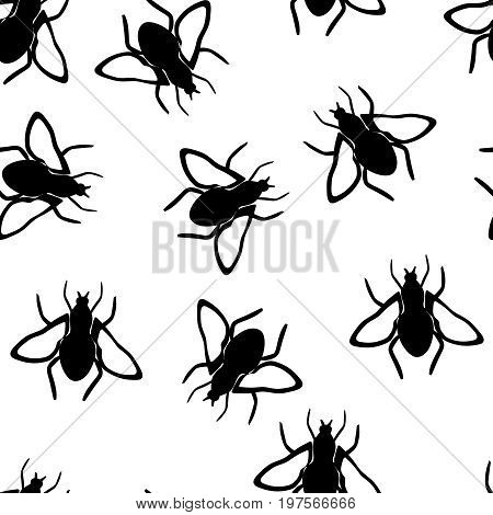 Vector seamless fly wallpaper pattern on white