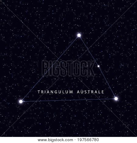 Sky Map with the name of the stars and constellations. Astronomical symbol constellation Triangulum Australe