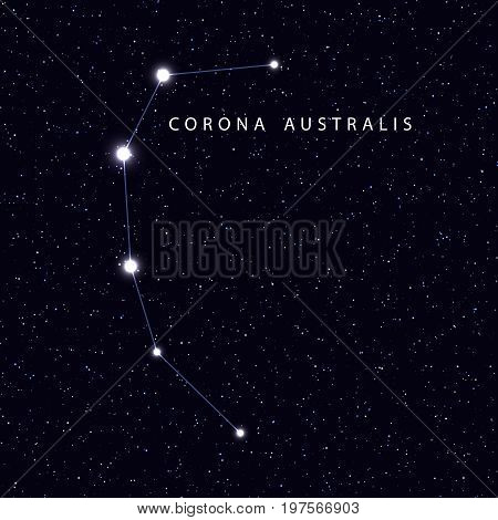 Sky Map with the name of the stars and constellations. Astronomical symbol constellation Corona australis
