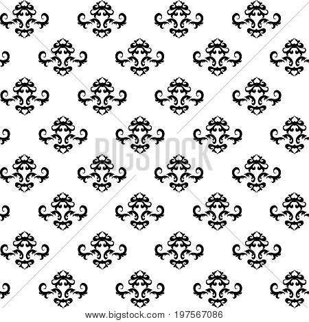 Seamless ornament pattern with black elements on white