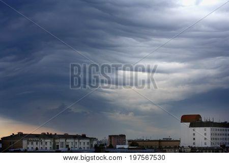 unusual gray stratus clouds aerial view skyscape cityscape