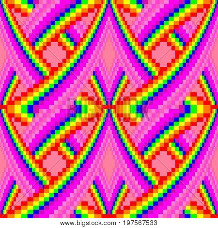 Seamless square colorfull pattern background with digital pixels