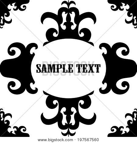 Elegant text frame. Uncolored pattern on white