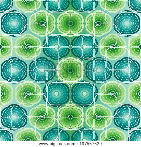 Seamless vector pattern with green flower ornament