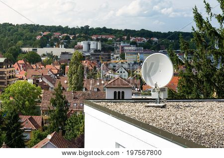 Outdoor Home Satellite Dish Rooftop Commercial Object Isolated Focus over City