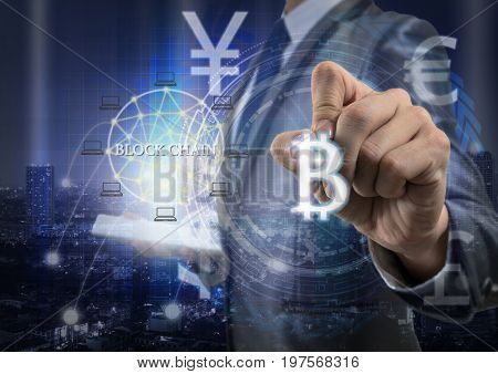 Double exposure of businessman using tablet and writing the bitcoins and block chain over the innovation technology virtual screen on cityscape backgroundUS dollar and other currencyFin tech concept