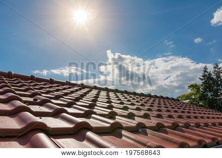 European Brand New Orange Clay Roof Tiles Sunshine Outside Daytime House