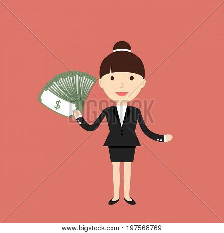 Business situation. Businesswoman holding dollars. Concept of success and big profits. Vector illustration.