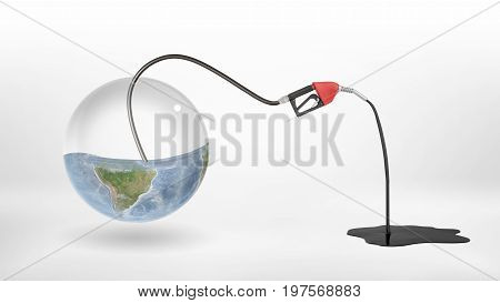 3d rendering of gas nozzle attached to a half empty glass earth globe and leaking oil to a puddle. Oil and gas business. Ecology and nature. Depletion of natural resources.
