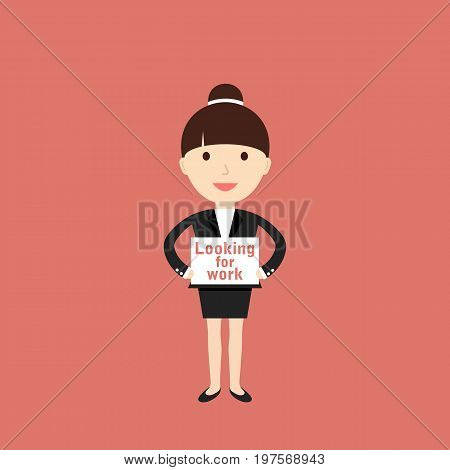 Businesswoman looking for a job. Vector illustration.